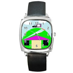 Abstract Landscape  Square Metal Watch by Valentinaart