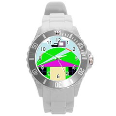 Abstract Landscape  Round Plastic Sport Watch (l) by Valentinaart