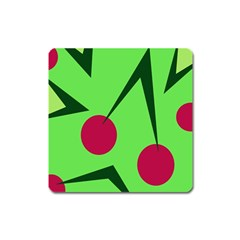 Cherries  Square Magnet by Valentinaart