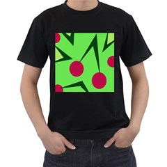 Cherries  Men s T-shirt (black) (two Sided) by Valentinaart