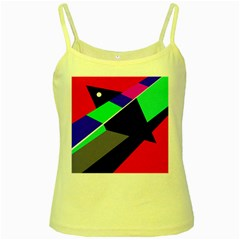 Abstract Fish Yellow Spaghetti Tank by Valentinaart