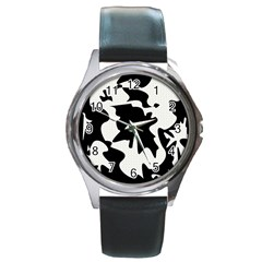 Black And White Elegant Design Round Metal Watch by Valentinaart