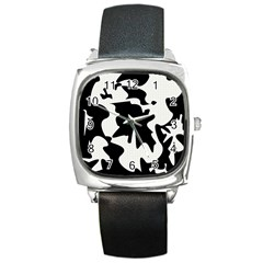 Black And White Elegant Design Square Metal Watch by Valentinaart
