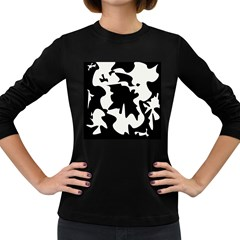 Black And White Elegant Design Women s Long Sleeve Dark T Shirts by Valentinaart
