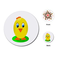 Cute Chicken  Playing Cards (round)
