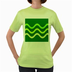 Green Waves Women s Green T Shirt by Valentinaart
