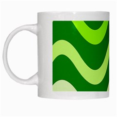 Green Waves White Mugs by Valentinaart
