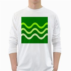 Green Waves White Long Sleeve T Shirts by Valentinaart