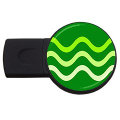 Green Waves Usb Flash Drive Round (4 Gb)  by Valentinaart
