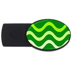 Green Waves Usb Flash Drive Oval (4 Gb)  by Valentinaart
