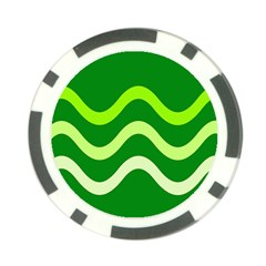 Green Waves Poker Chip Card Guards by Valentinaart