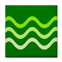 Green Waves Face Towel by Valentinaart