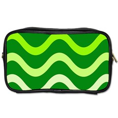 Green Waves Toiletries Bags by Valentinaart