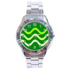 Green Waves Stainless Steel Analogue Watch by Valentinaart