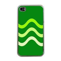 Green Waves Apple Iphone 4 Case (clear) by Valentinaart