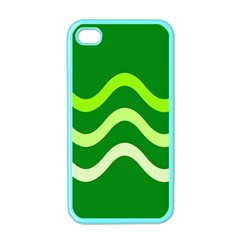 Green Waves Apple Iphone 4 Case (color) by Valentinaart