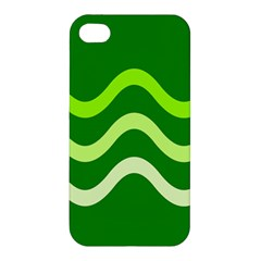 Green Waves Apple Iphone 4/4s Hardshell Case by Valentinaart