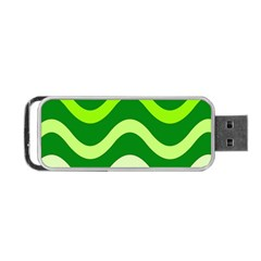 Green Waves Portable Usb Flash (two Sides) by Valentinaart