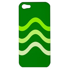 Green Waves Apple Iphone 5 Hardshell Case by Valentinaart
