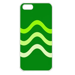 Green Waves Apple Iphone 5 Seamless Case (white) by Valentinaart