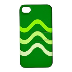 Green Waves Apple Iphone 4/4s Hardshell Case With Stand by Valentinaart