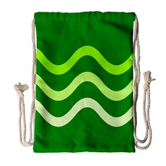 Green Waves Drawstring Bag (large) by Valentinaart