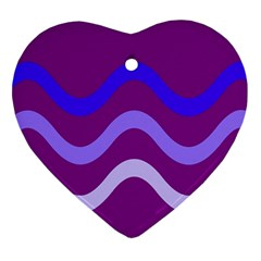 Purple Waves Ornament (heart)  by Valentinaart