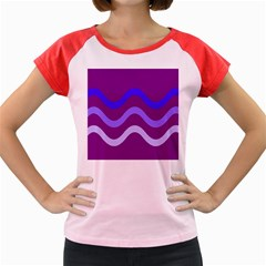 Purple Waves Women s Cap Sleeve T Shirt by Valentinaart