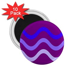 Purple Waves 2 25  Magnets (10 Pack)  by Valentinaart