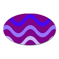 Purple Waves Oval Magnet by Valentinaart