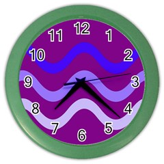 Purple Waves Color Wall Clocks by Valentinaart