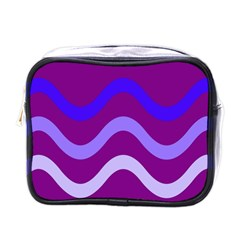 Purple Waves Mini Toiletries Bags by Valentinaart
