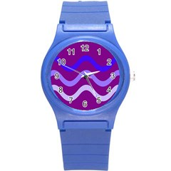 Purple Waves Round Plastic Sport Watch (s) by Valentinaart