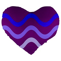 Purple Waves Large 19  Premium Heart Shape Cushions by Valentinaart