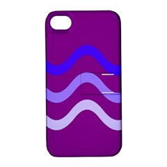 Purple Waves Apple Iphone 4/4s Hardshell Case With Stand by Valentinaart