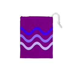 Purple Waves Drawstring Pouches (small)  by Valentinaart