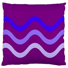 Purple Waves Large Flano Cushion Case (one Side) by Valentinaart