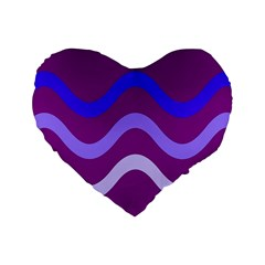 Purple Waves Standard 16  Premium Flano Heart Shape Cushions by Valentinaart