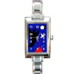 Night Birds  Rectangle Italian Charm Watch by Valentinaart