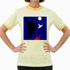 Night Birds  Women s Fitted Ringer T-shirts by Valentinaart