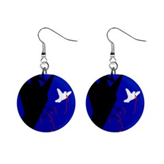 Night Birds  Mini Button Earrings by Valentinaart