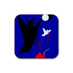 Night Birds  Rubber Square Coaster (4 Pack)  by Valentinaart