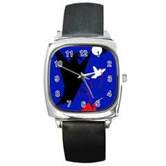 Night Birds  Square Metal Watch by Valentinaart