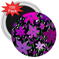 Purple Fowers 3  Magnets (100 Pack) by Valentinaart
