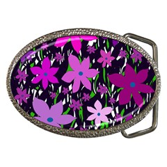 Purple Fowers Belt Buckles by Valentinaart