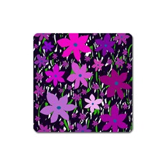 Purple Fowers Square Magnet by Valentinaart