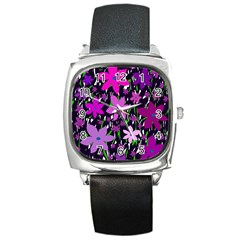 Purple Fowers Square Metal Watch by Valentinaart