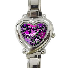 Purple Fowers Heart Italian Charm Watch by Valentinaart