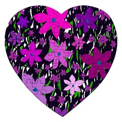 Purple Fowers Jigsaw Puzzle (heart) by Valentinaart