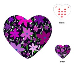 Purple Fowers Playing Cards (heart)  by Valentinaart
